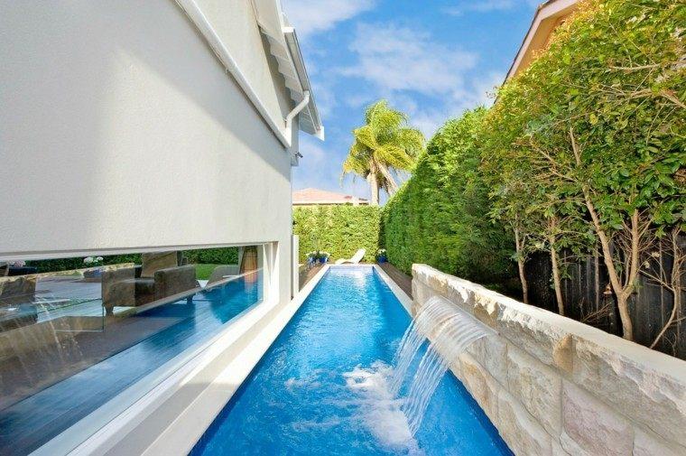 cascadas piscina diseño moderno lateral