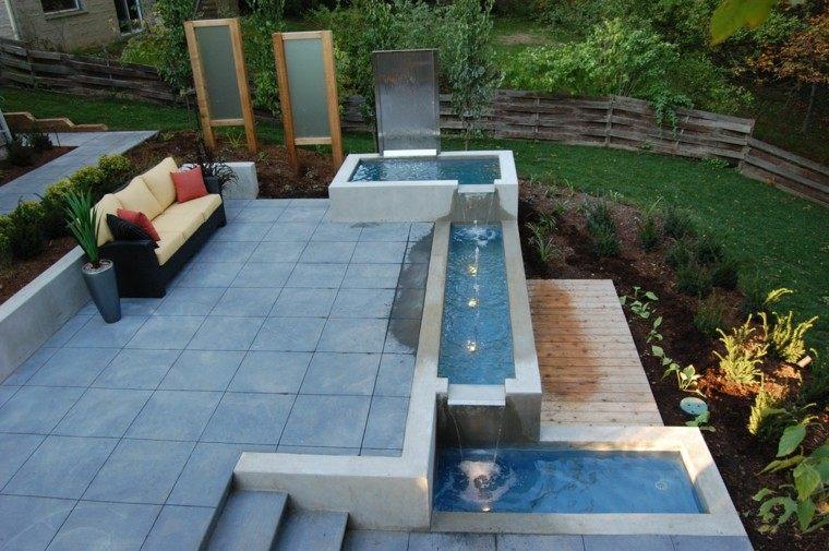 Cataratas y cascadas en el jard n 75 ideas - Fuentes minimalistas para jardin ...