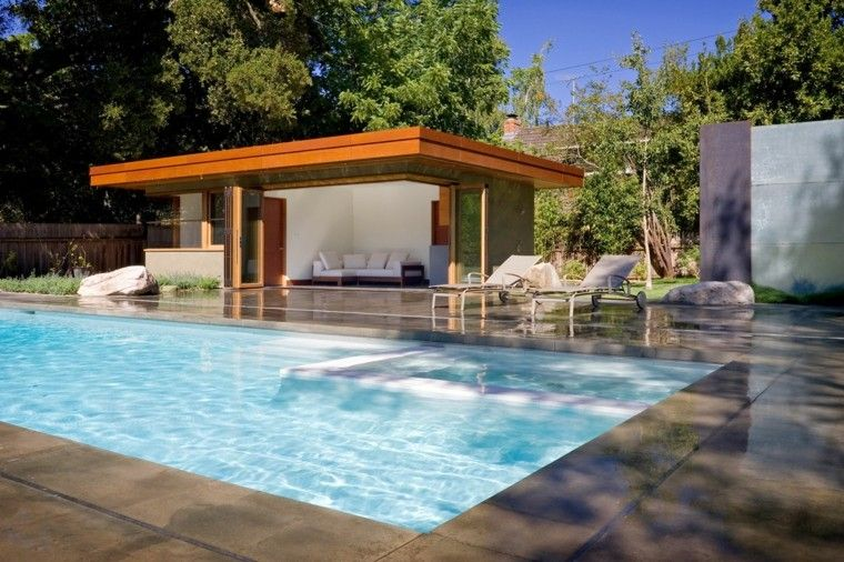 fotos jardins piscinas:Modelos de diseños paisajistas con piscina – 75 ideas