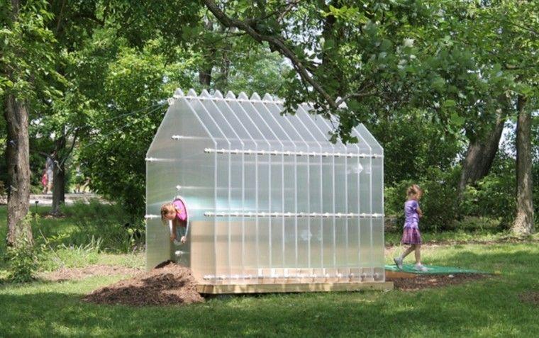 casita plástico transparente tubo niños