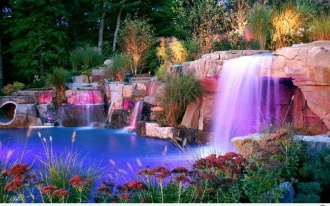 cataratas cascadas luces colores piscina