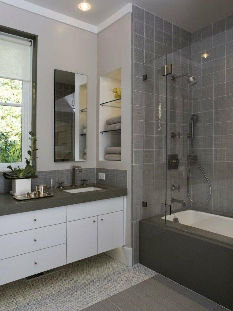 baño pequeño color gris