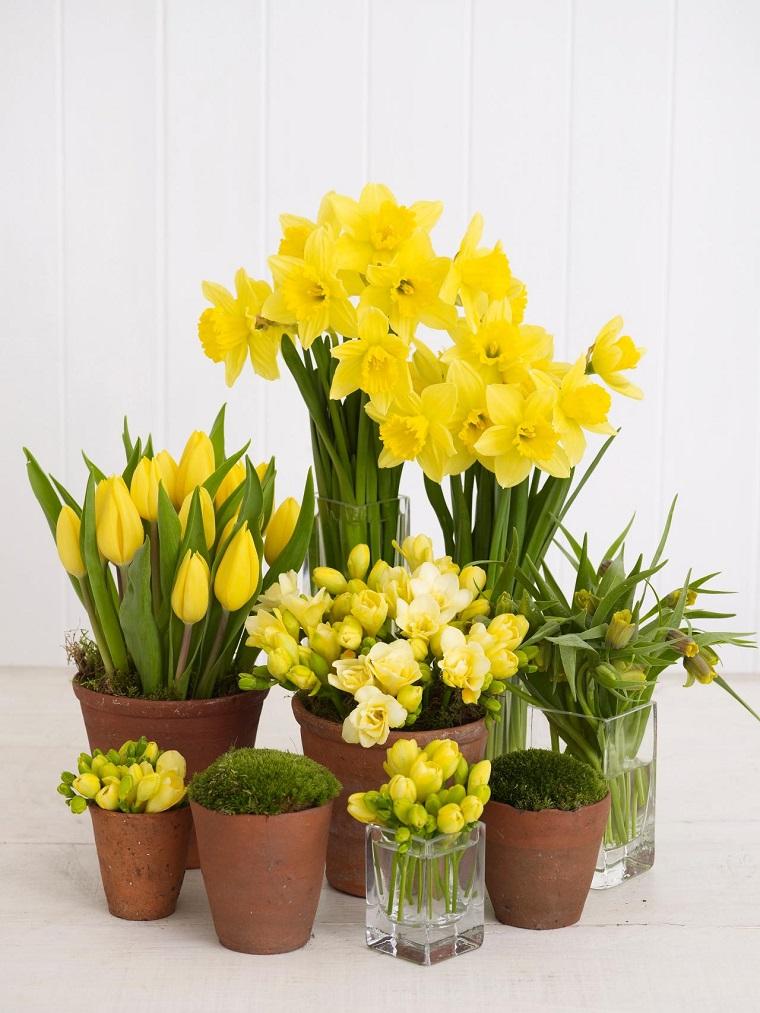centro mesa color amarillo flores ideas