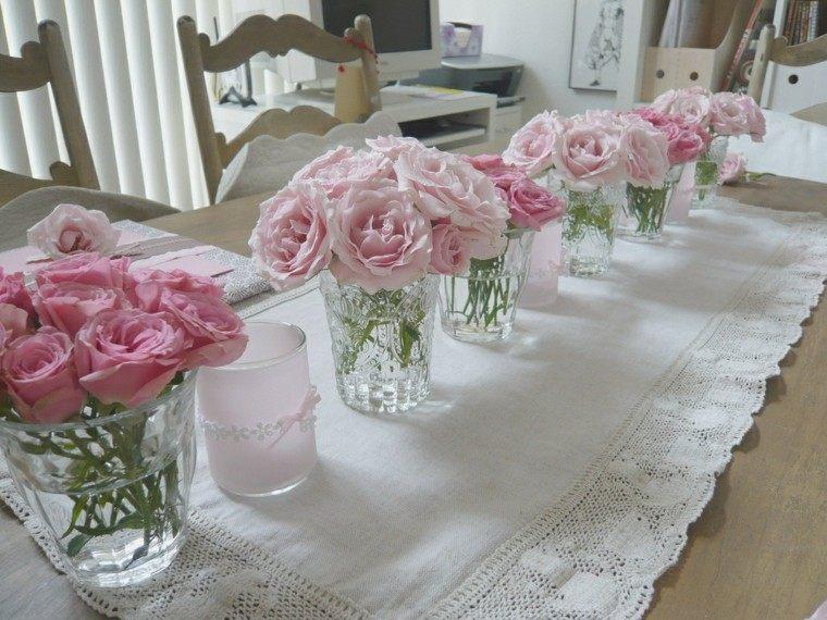 centros mesa rosas vasos cristal ideas