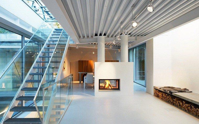 chimenea diseño acero concreto casa industrial