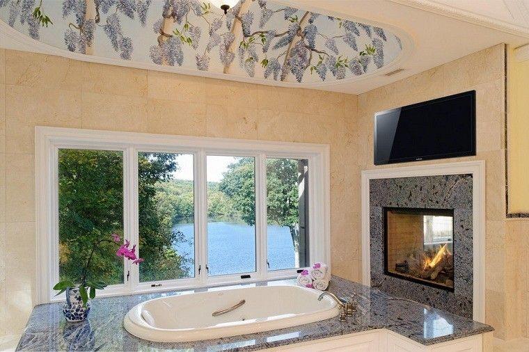 chimenea diseño cara doble baño flores