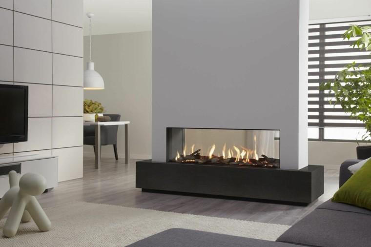 chimenea diseño gas televisor escultura