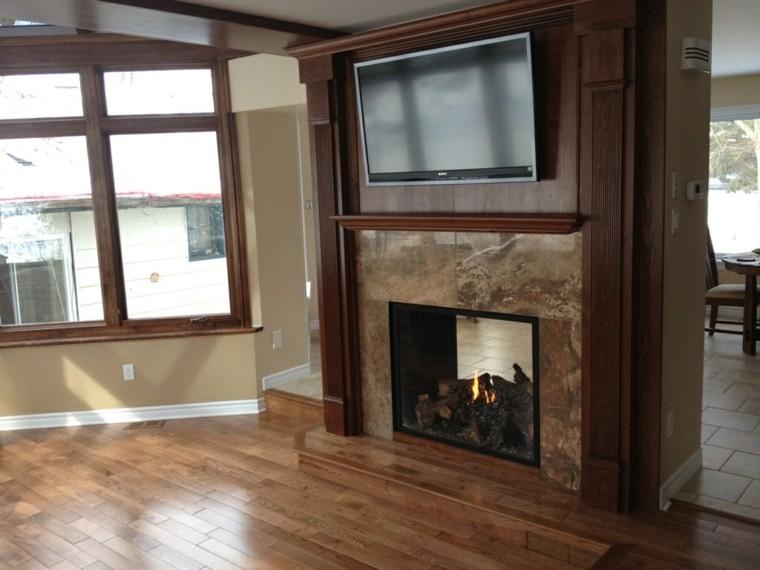 chimenea diseño madera enmarcado salon