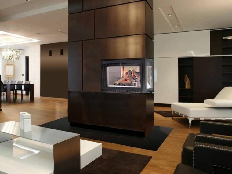 chimenea diseño madera habitacion cristal
