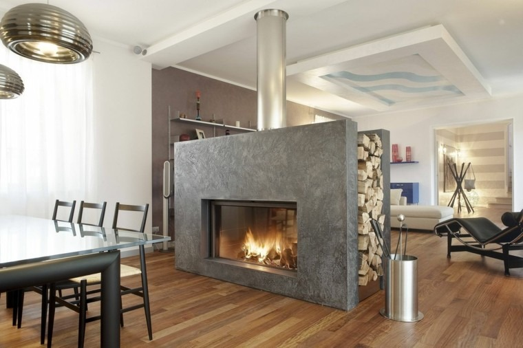 chimenea diseño madera muro lamparas