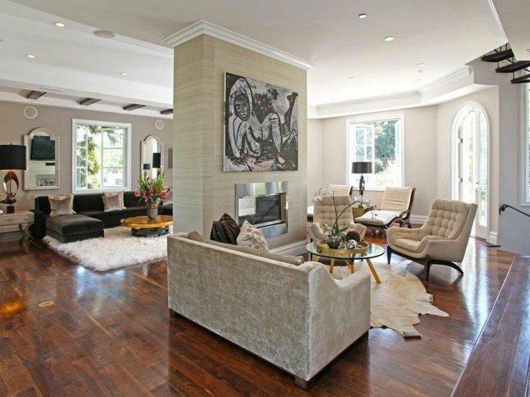 chimenea diseño muebles salon elegante