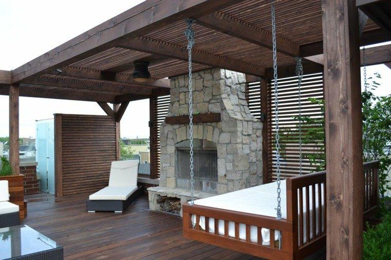 chimenea exterior cadenas madera fuego