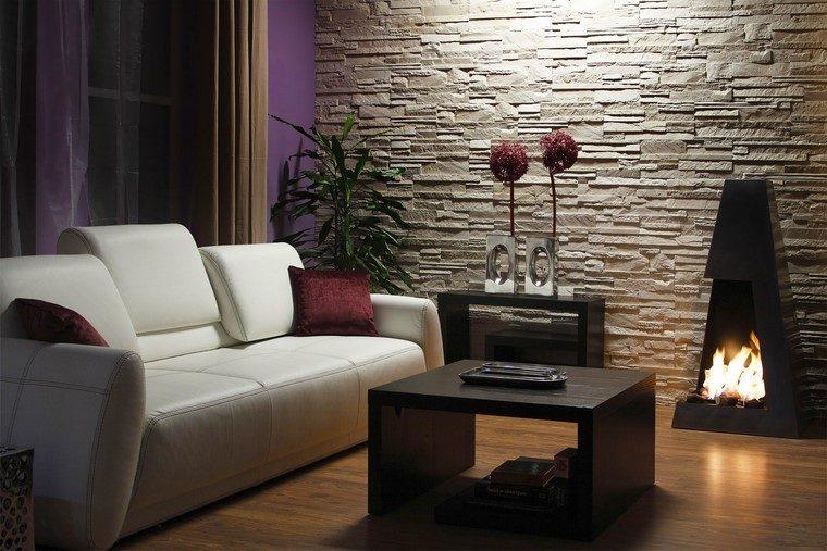 Chimeneas modernas en salones acogedores y amenos - Pared piedra salon ...