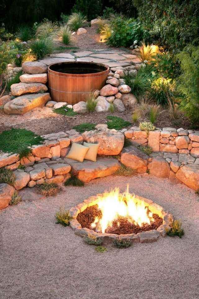 chimenea hoguera jacuzzi madera fuego