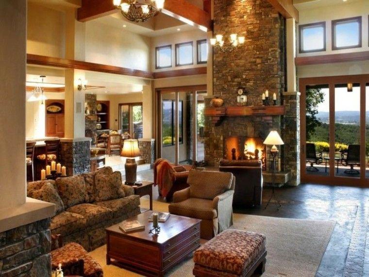 chimenea lujo casa campo estilo rocas