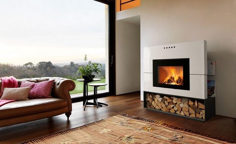 chimenea moderna sofa cuero salon ideas