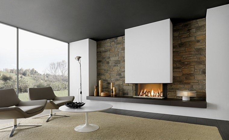 chimeneas modernas salon amplio luminoso ideas