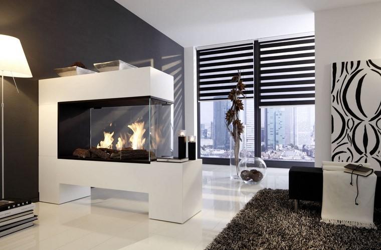 chimeneas modernas blancas salon persianas negras ideas