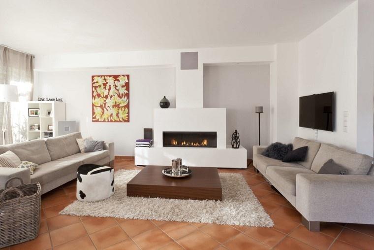 Chimeneas modernas en salones acogedores y amenos - Como limpiar paredes blancas ...
