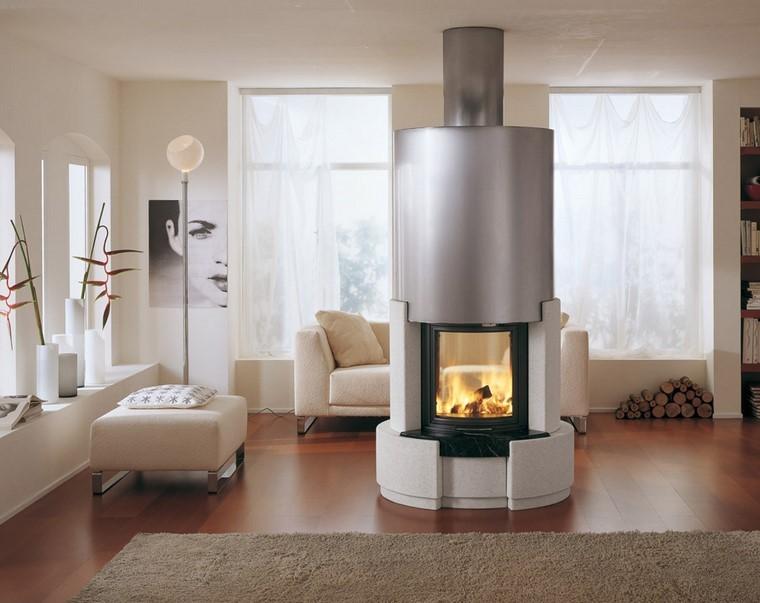 chimenea moderna medio salon madera ideas