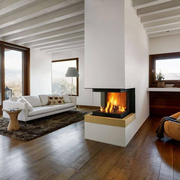 chimeneas modernas pared sofa blanca salon ideas