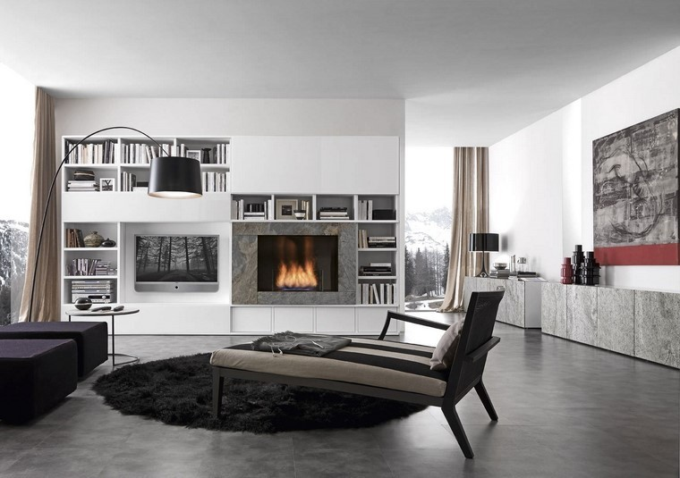 chimeneas modernas salon alfombra negra ideas