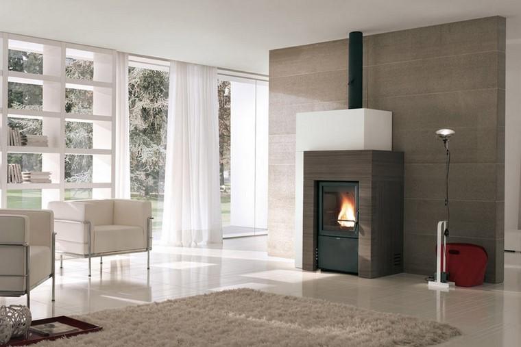 Chimeneas modernas en salones acogedores y amenos - Tipos de chimeneas modernas ...