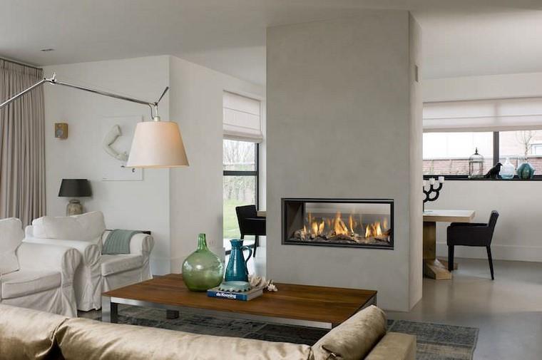 chimeneas modernas salon estilo contemporaneo ideas