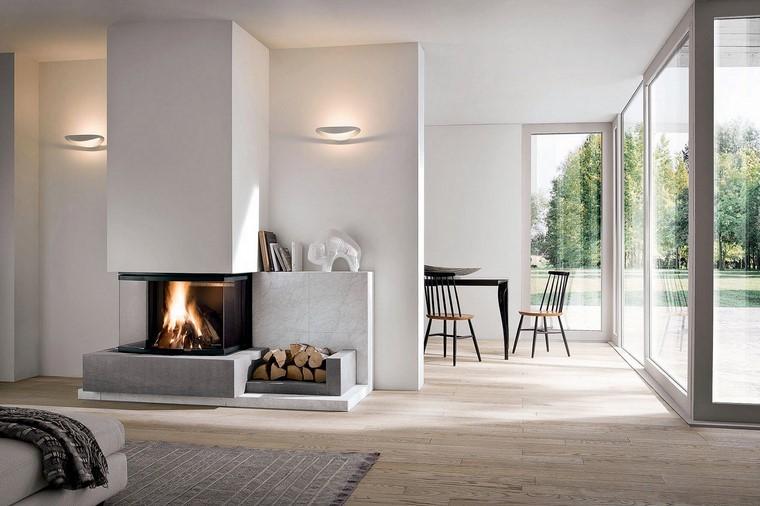 chimeneas modernas salon luminoso paredes blancas ideas