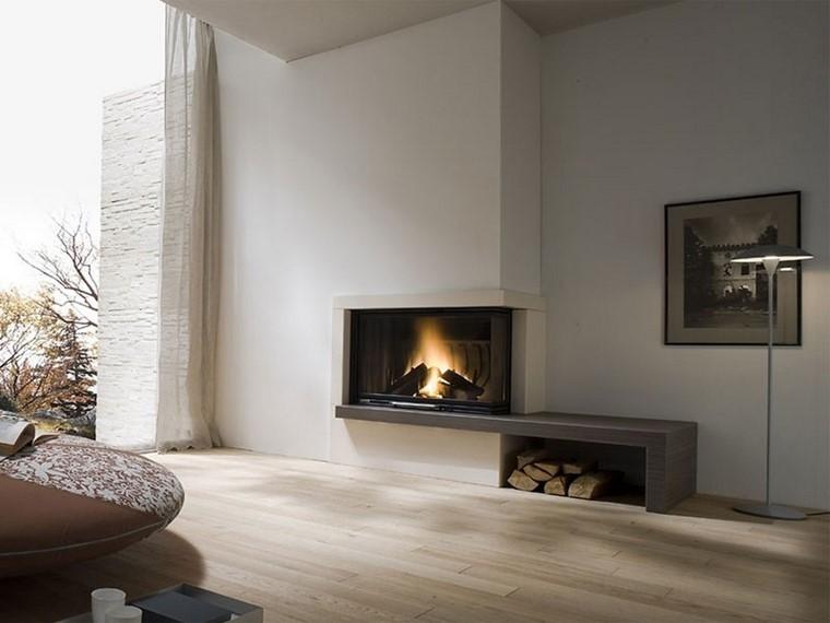 chimeneas modernas salon pared blanca ideas