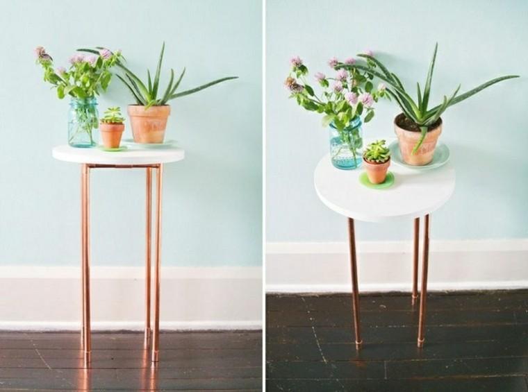 cobre mesa blanca redonda plantas