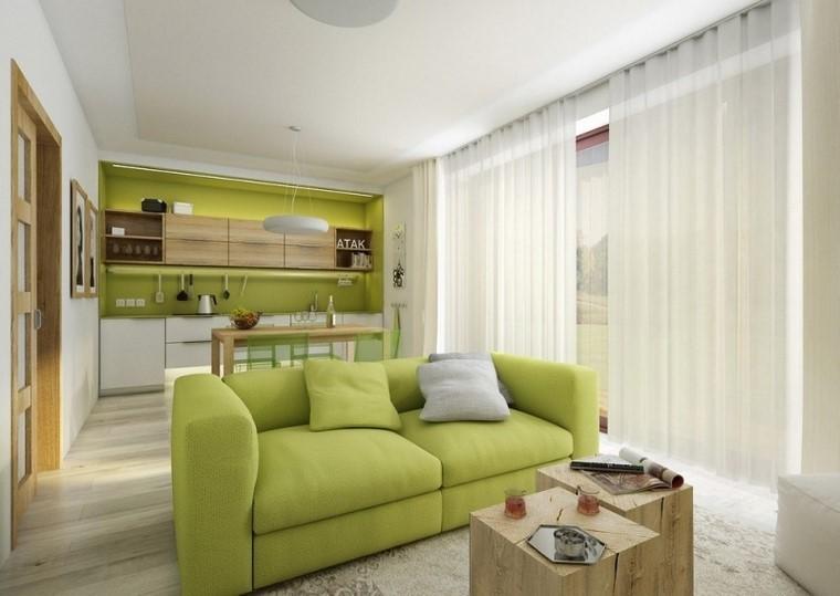 cocina abierta salon sofa verde ideas modernas