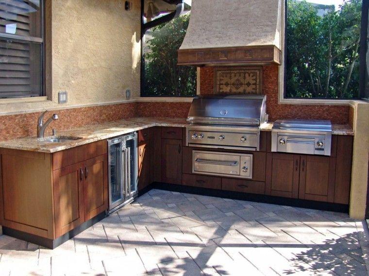 cocina aire libre encimeras granito armarios madera ideas