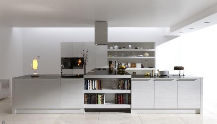 cocina amplia color blanco isla grande modernas