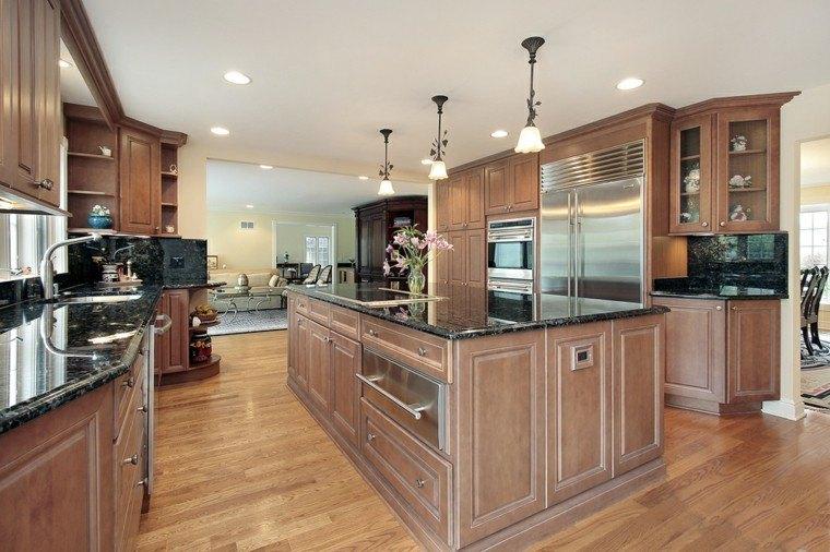 cocina amplia muebles madera isla ideas