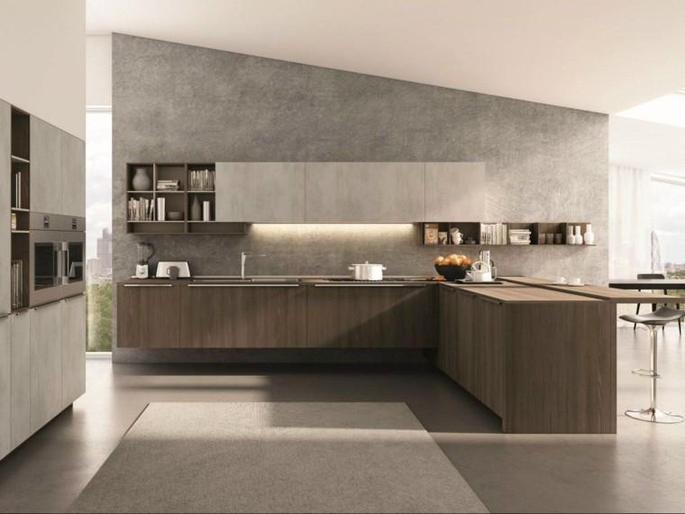 Encimeras de cocina madera maciza para la cocina - Muebles marron oscuro color pared ...