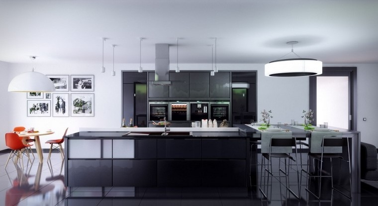 cocina amplia negra ideas muebles isla moderna