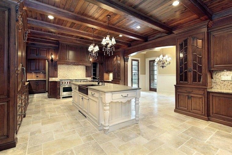 cocina amplia suelo losas muebles paredes gris ideas