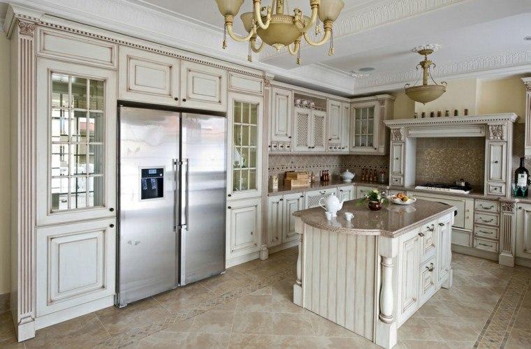 cocina aramarios puertas cristal blancas ideas