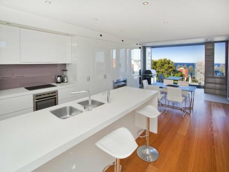 cocina blanca diseño estilo moderno
