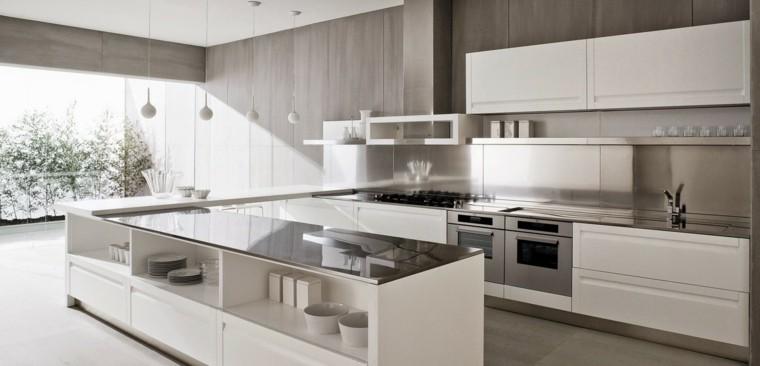 cocina blanca moderna nieve gabinetes