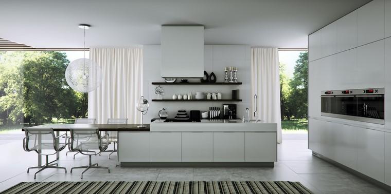 cocina blanca ventanales muebles perfectos moderna