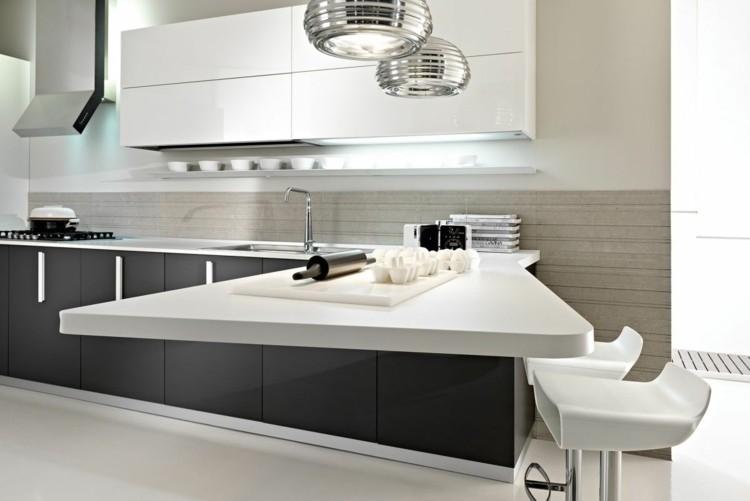cocina diseño blaco muebles taburetes