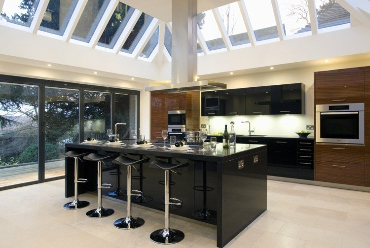 cocina diseño led paredes taburetes