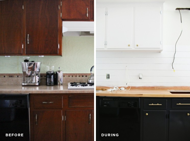 cocina diseño madera negro blanco