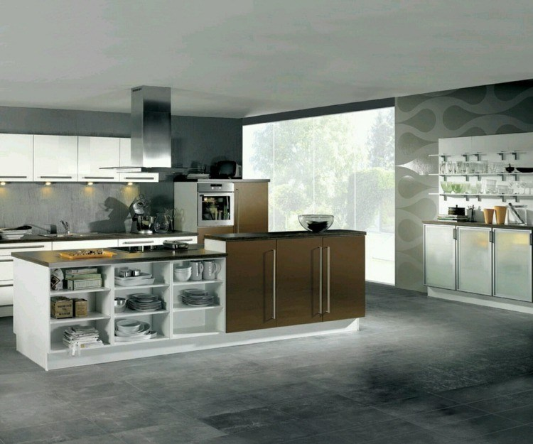 cocina diseño paredes decoradas grises