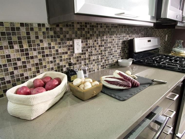 cocina encimera granito pared mosaico preciosa ideas