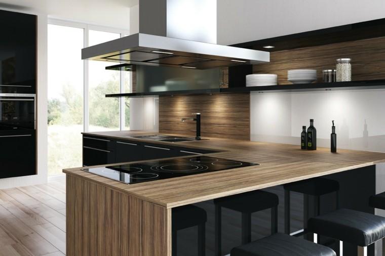 cocina encimera madera moderna campana ideas