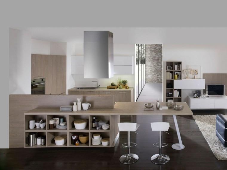 cocina estantes abiertos encimeras madera ideas