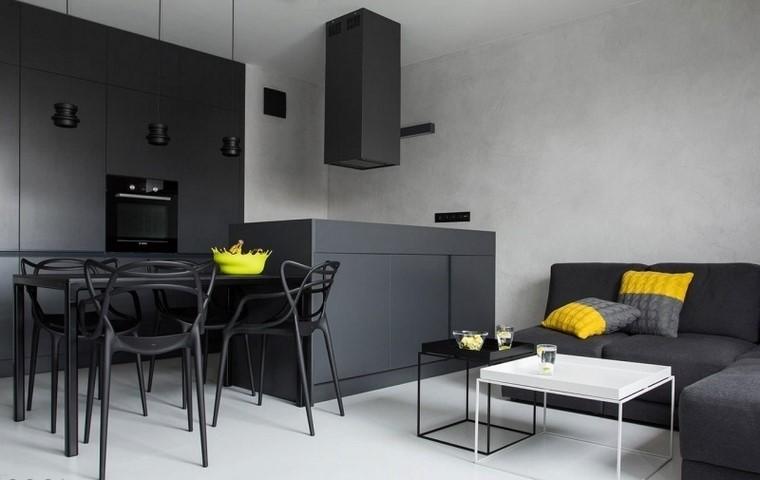 cocina estilo armarios suelo techo color negro moderno